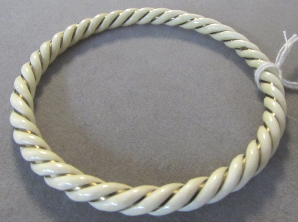 14k Gold Carved Ivory Rope Bangle Bracelet
