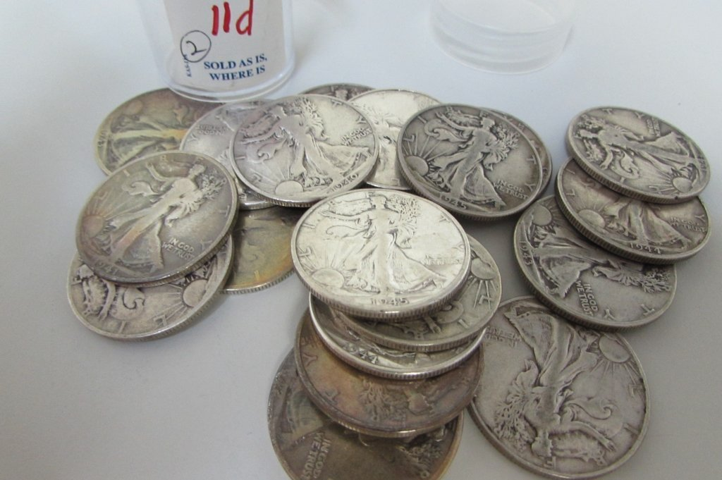 ROLL OF SILVER WALKING LIBERTY HALF DOLLARS 20PCS