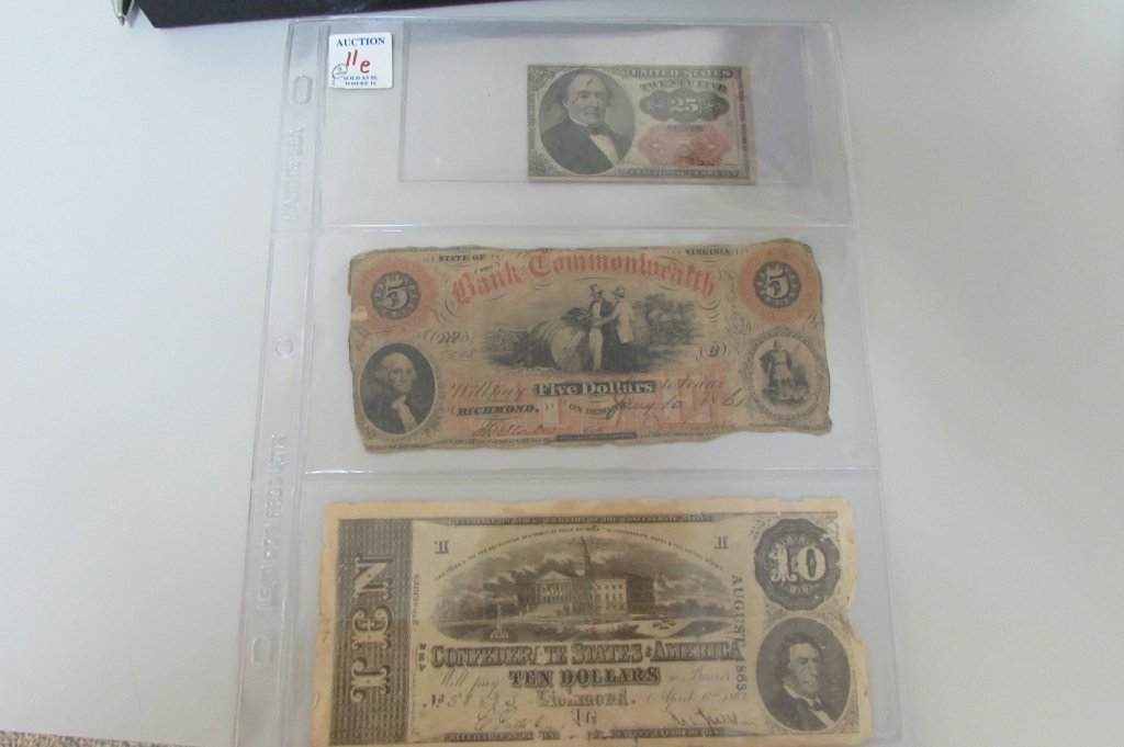 3 NOTES FRACTIONAL CONFEDERATE BANK