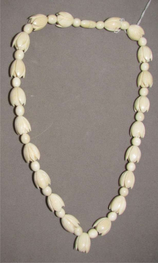 Carved Ivory Flower Bead Necklace