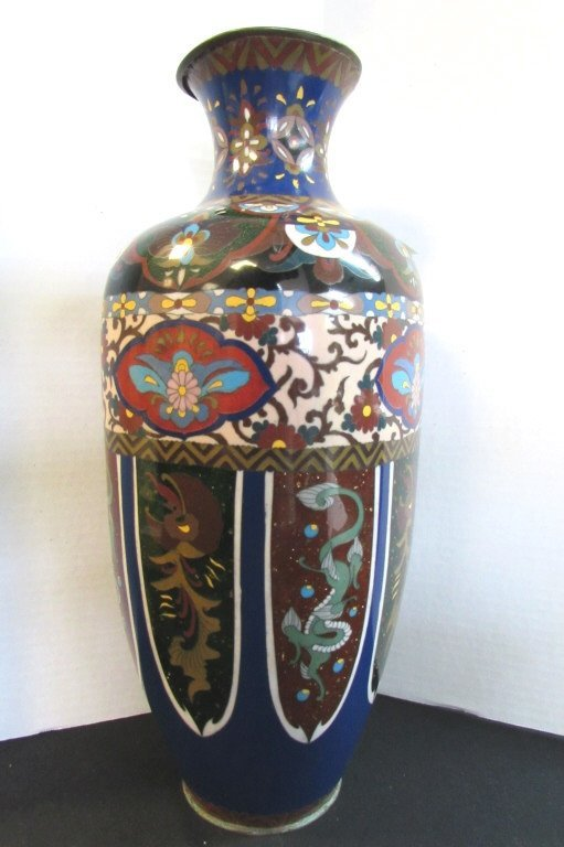 "18"" Cloisonne Vase Monumental Antique"