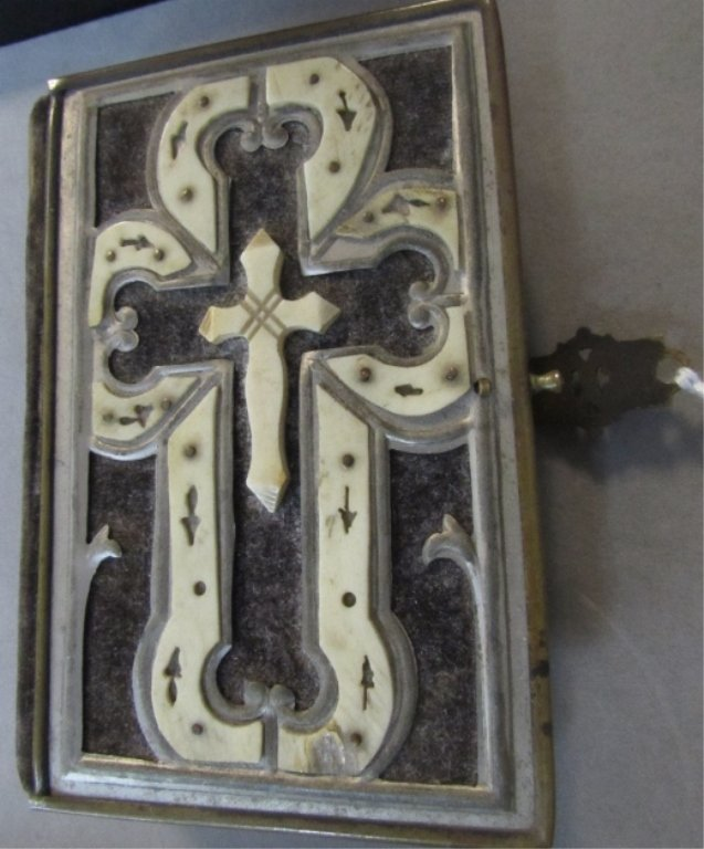 French 1890's Bone Decorated Communion Bible
