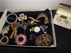 16 PC Victorian Style Pin Brooch Costume Jewelry