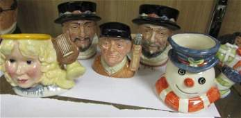 5 PC RARE ROYAL DOULTON MINATURE TOBY MUG JUG