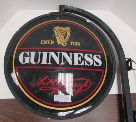 GUINNESS LIGHTED HANGING BEER SIGN