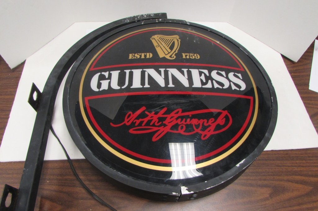 GUINNESS LIGHTED HANGING BEER SIGN - 3