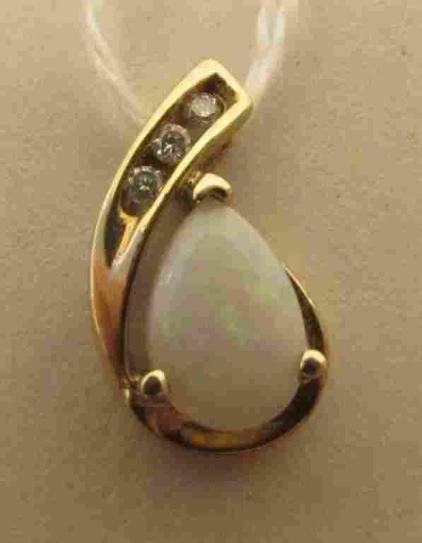 1CT OPAL DIAMOND 10K GOLD PENDANT NECKLACE CHARM