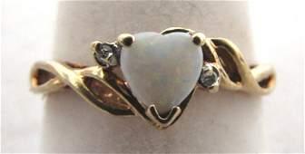.50CT HEART OPAL DIAMOND 10K GOLD RING SIZE 7 1/2