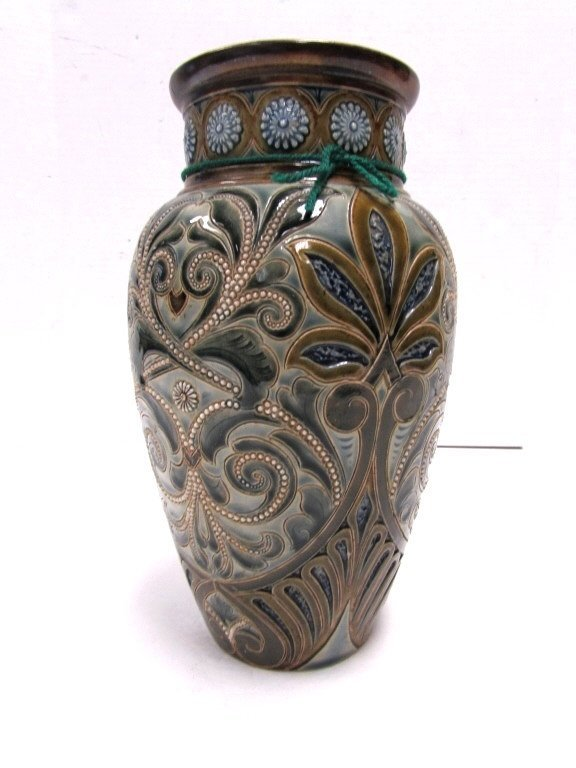 1886 ROYAL DOULTON LAMBETH VASE FAIENCE SIGNED