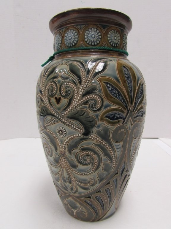 1886 ROYAL DOULTON LAMBETH VASE FAIENCE SIGNED - 2