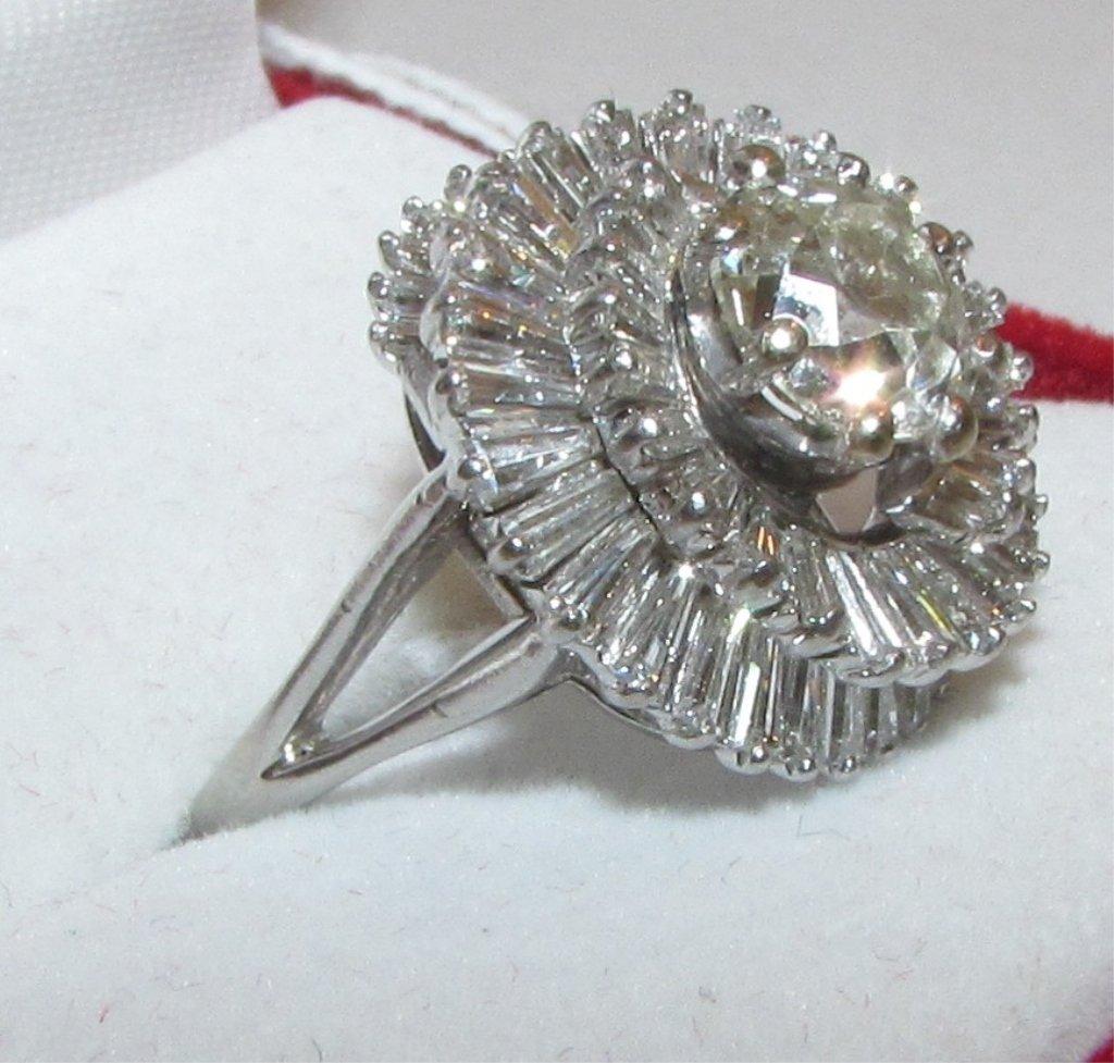 3.85CT DIAMOND PLATINUM CLUSTER RING 1.85 SOLITAIRE