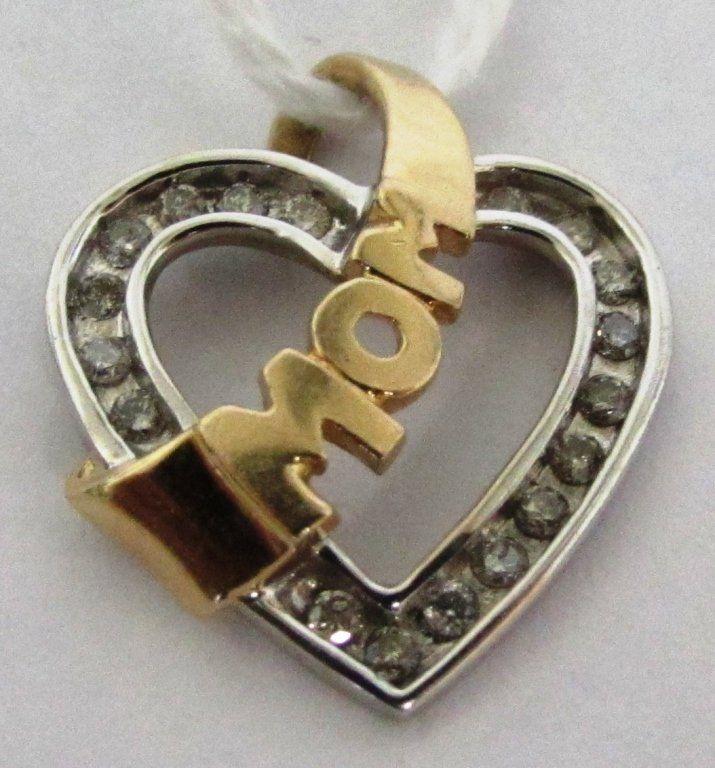 18 DIAMOND HEART 10K GOLD MOM PENDANT