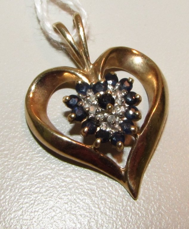 .50CT SAPPHIRE & DIAMOND 10K GOLD HEART PENDANT