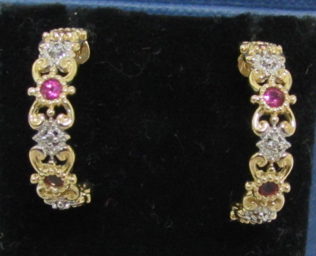 RUBY & DIAMOND EARRINGS 14K GOLD HIDALGO STYLE