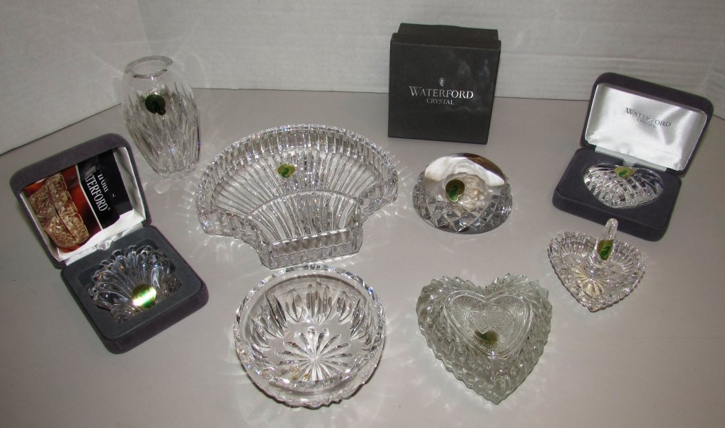 8PC WATERFORD CRYSTAL SHELL HEART RING DISH