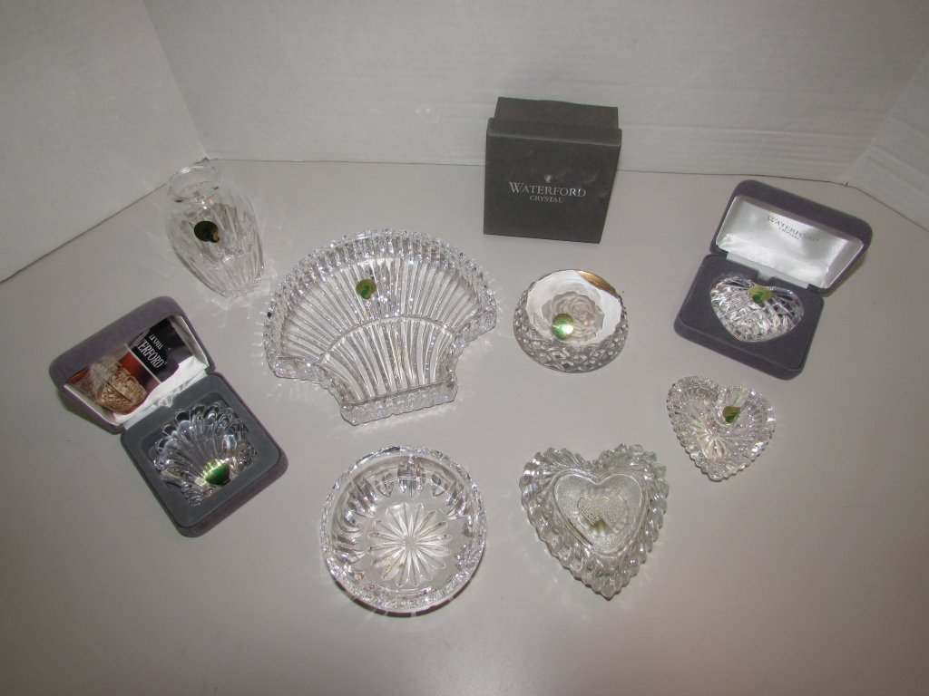 8PC WATERFORD CRYSTAL SHELL HEART RING DISH - 2