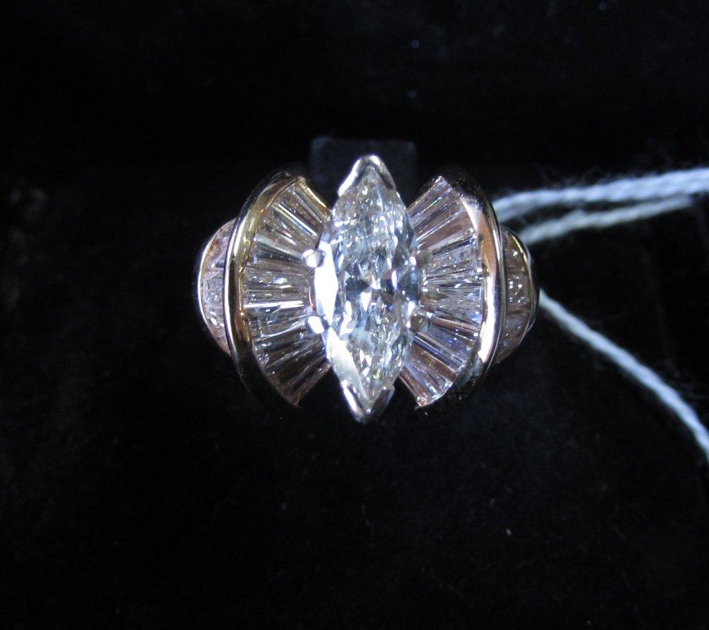 2.7CT TW. 1.15CT MARQUISE DIAMOND RING 14K GOLD