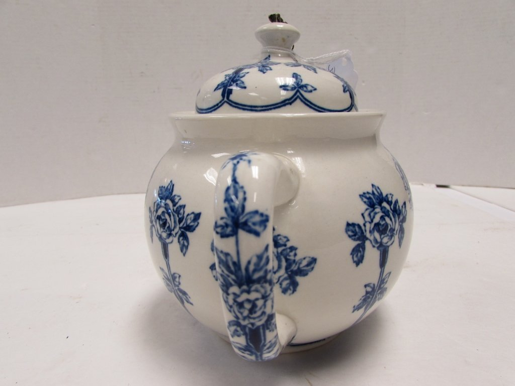 TEAPOT BUFFALO POTTERY ARGYLE 1914 BLUE ROSE - 4