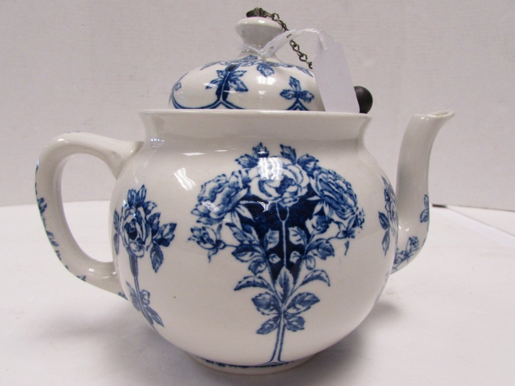 TEAPOT BUFFALO POTTERY ARGYLE 1914 BLUE ROSE - 5