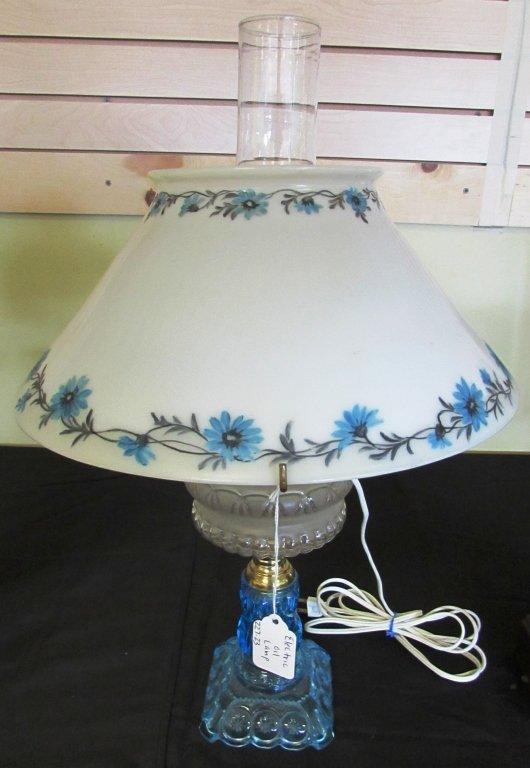 EAPG ADAMS MOON & STARS BLUE GLASS OIL LAMP