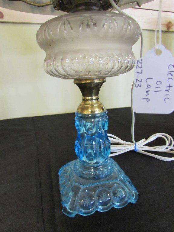 EAPG ADAMS MOON & STARS BLUE GLASS OIL LAMP - 3