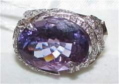85CT AMETHYST  DIAMOND RING 14K GOLD FABULOUS I