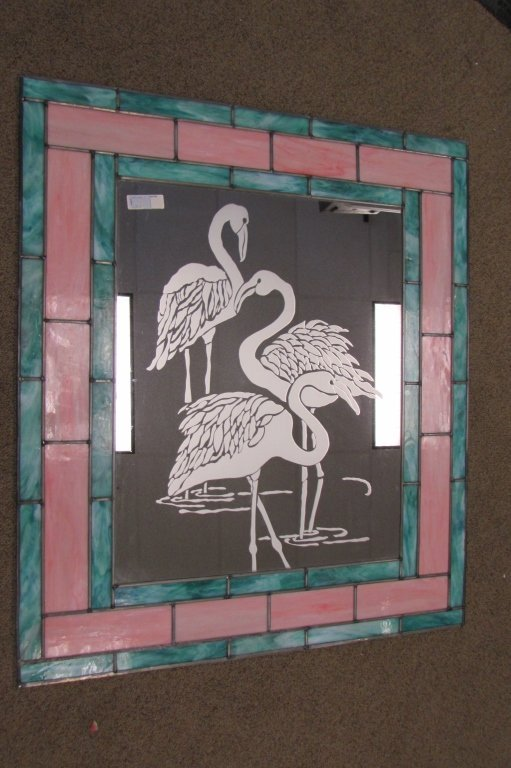 FLAMINGO MIRROR ETCHED STAINED GLASS MOTIF