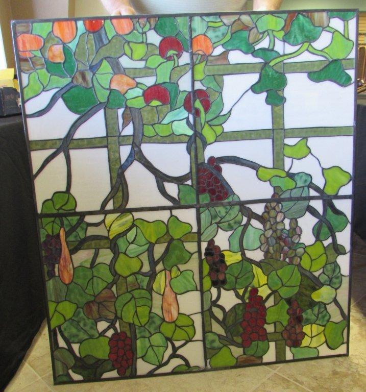 GRAPE VINE STAINED GLASS WINDOW PANEL MOTIF