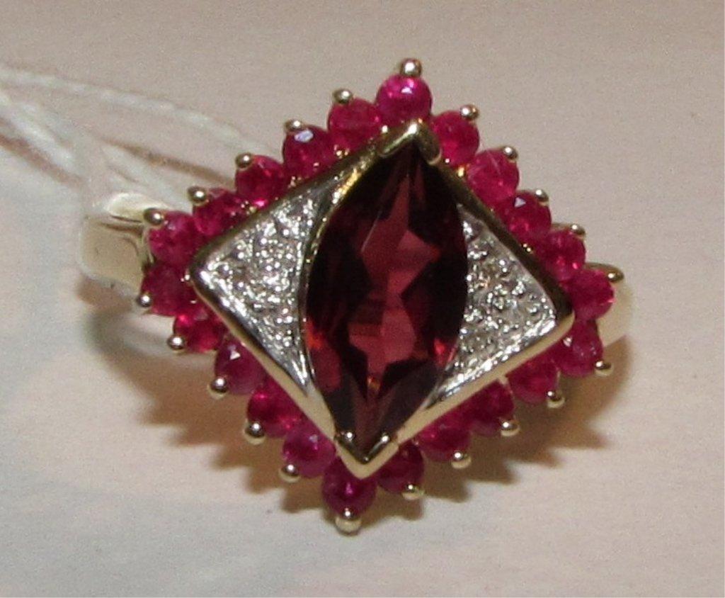 1CT GARNET, RUBY & DIAMOND RING 14K YELLOW GOLD