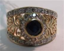 .50CT SAPPHIRE .50CT DIAMOND RING 14K GOLD YELLOW