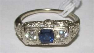 ANTIQUE FILIGREE 14K GOLD RING SAPPHIRE DIAMOND