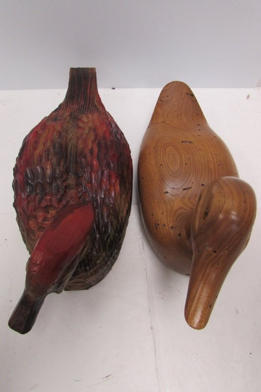 WOOD DUCK DECOY CARVED PAINTED HERB BAUER & MICKEY BETH - 5