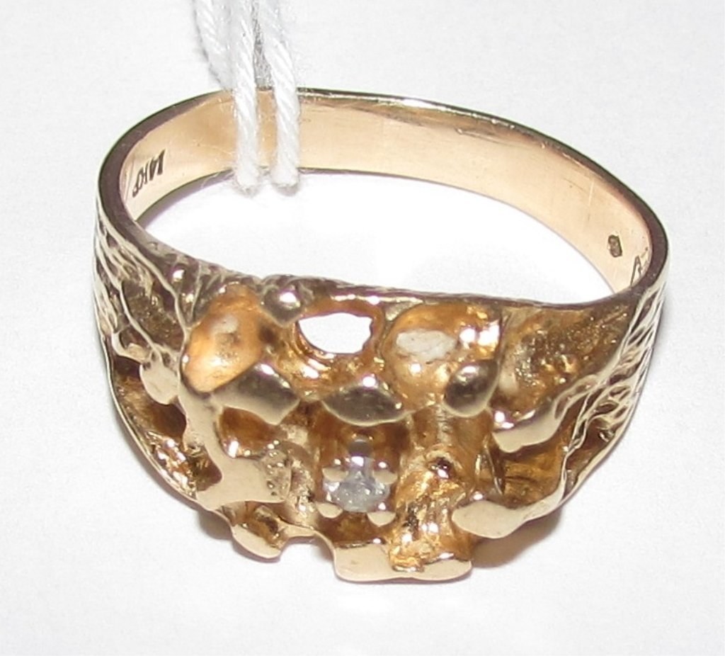 14K GOLD NUGGET DIAMOND RING
