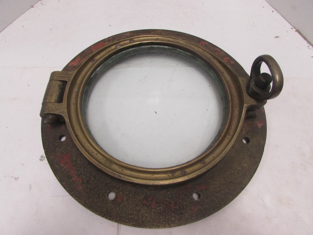 WWI ERA SHIP PORTHOLE WINDOW BRASS J&J WOODS