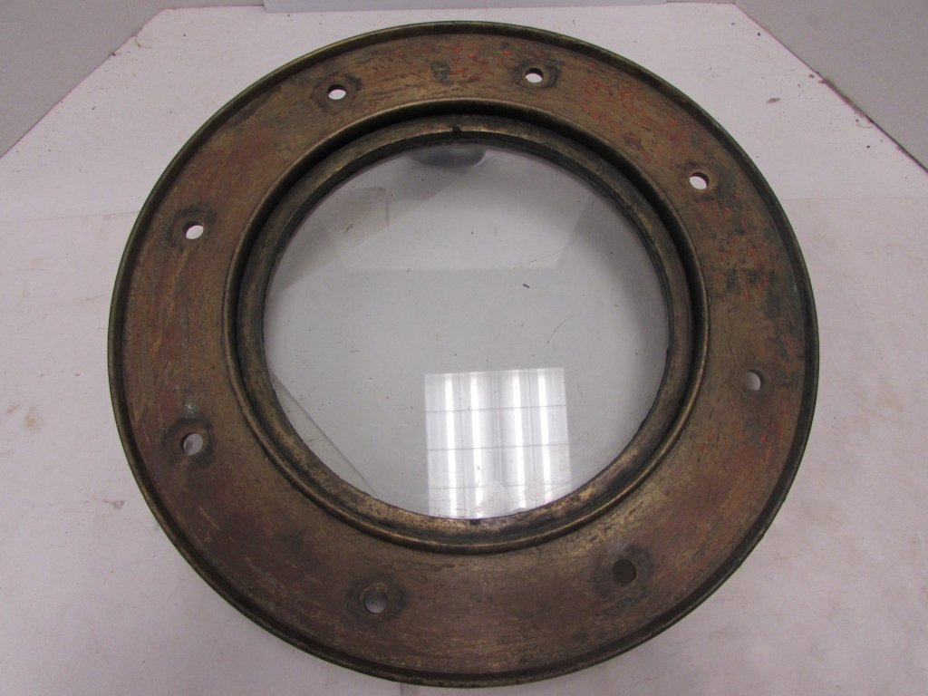 WWI ERA SHIP PORTHOLE WINDOW BRASS J&J WOODS - 6