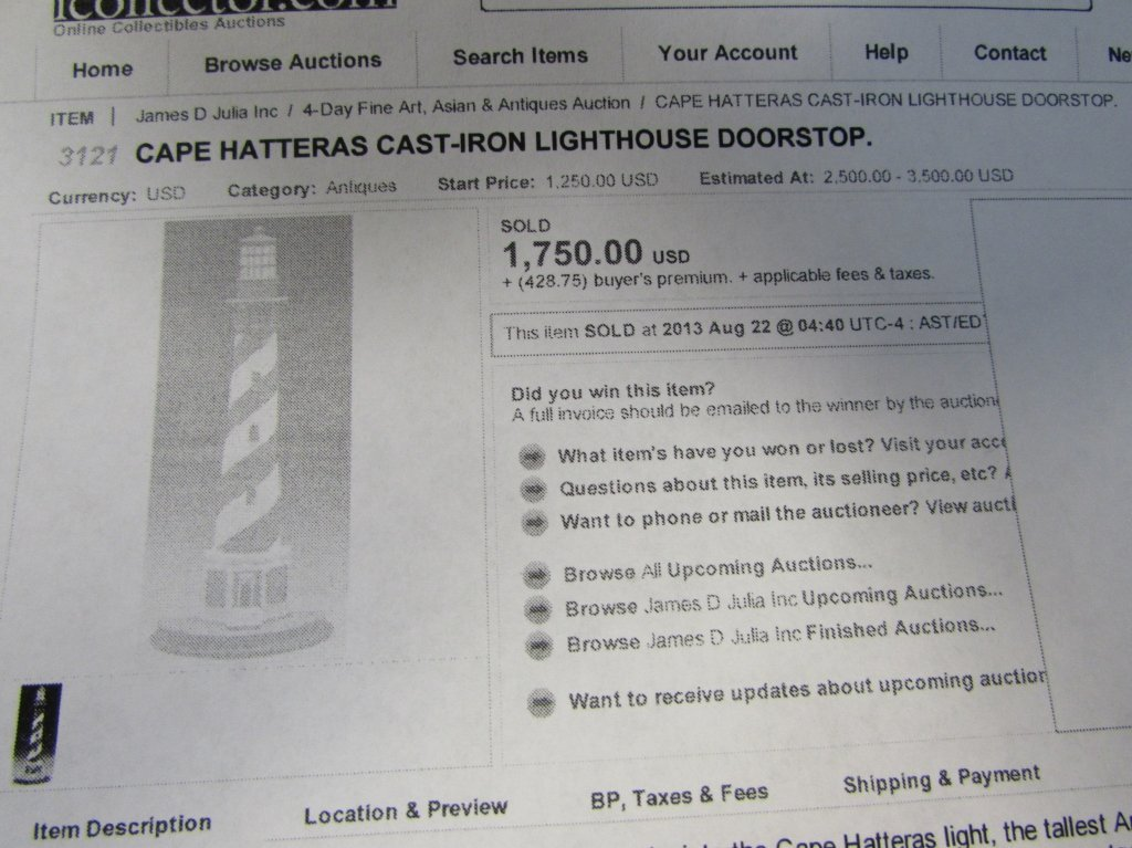 "1920 CAST IRON LIGHTHOUSE DOORSTOP CAPE HATTERAS 21"" - 10"