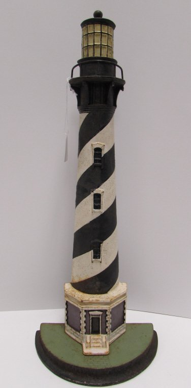 1920 CAST IRON LIGHTHOUSE DOORSTOP CAPE HATTERAS 21""