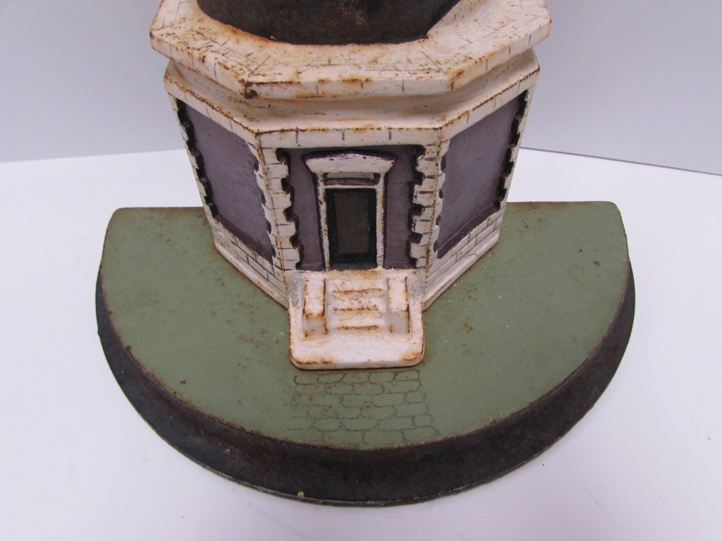 "1920 CAST IRON LIGHTHOUSE DOORSTOP CAPE HATTERAS 21"" - 2"