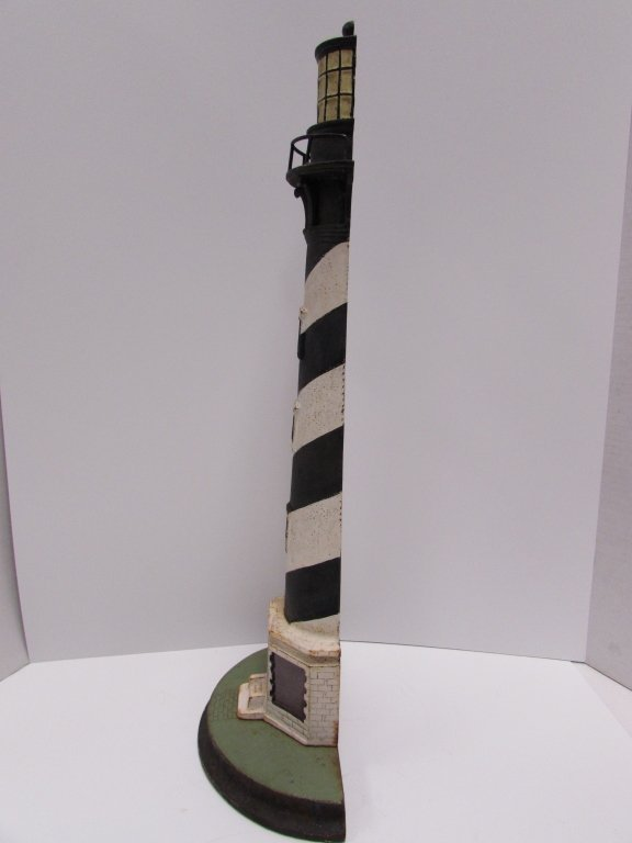 "1920 CAST IRON LIGHTHOUSE DOORSTOP CAPE HATTERAS 21"" - 5"