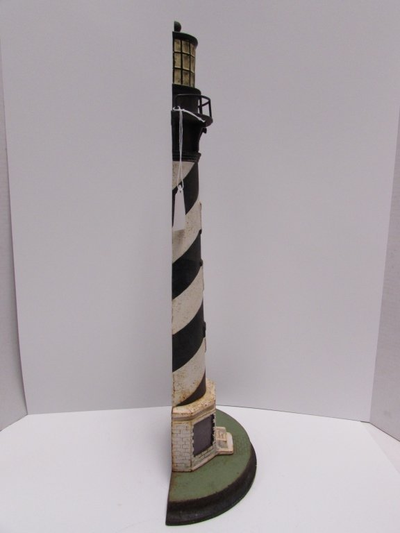 "1920 CAST IRON LIGHTHOUSE DOORSTOP CAPE HATTERAS 21"" - 7"