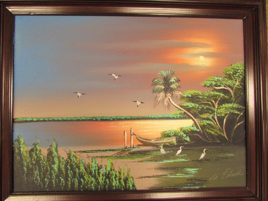 AL BLACK OIL PAINTING FLORIDA HIGHWAYMEN