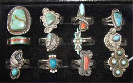 12 NATIVE AMERICAN RINGS CORAL  TURQUOISE