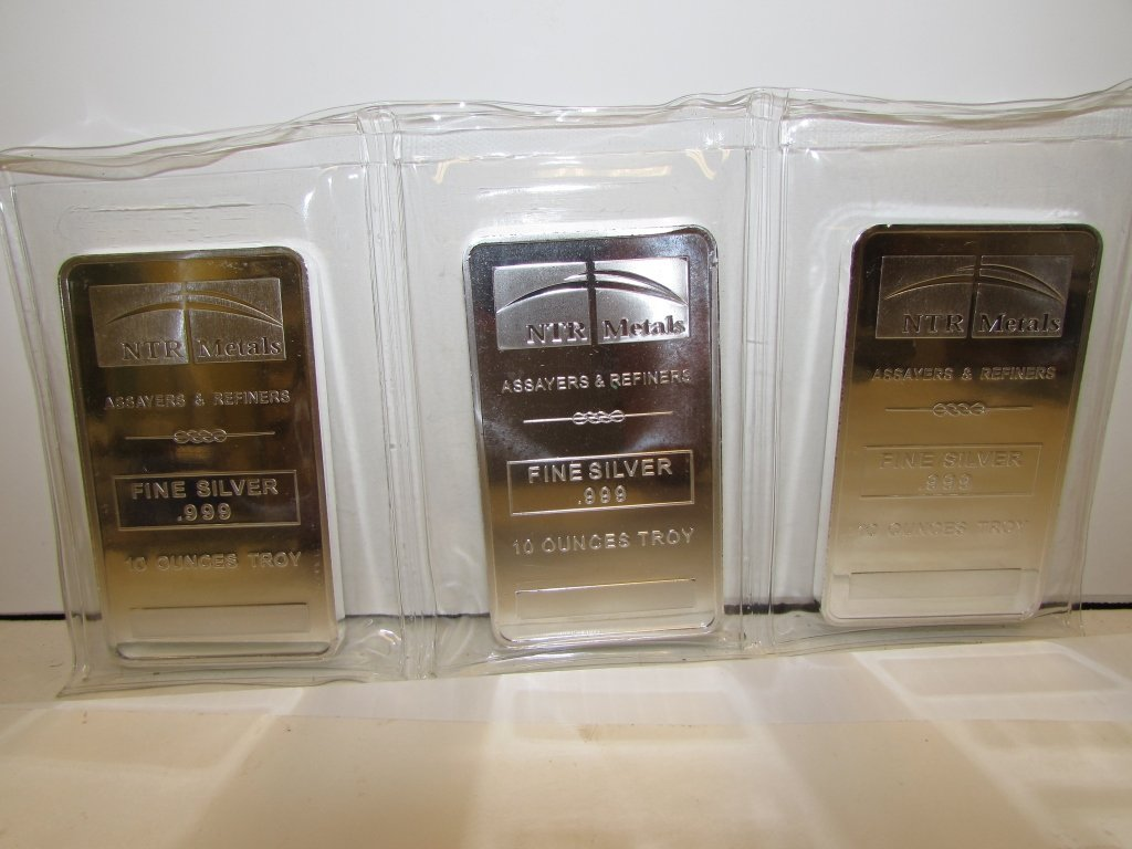 FINE SILVER .999 10 OZ TROY BARS NTR METALS 3