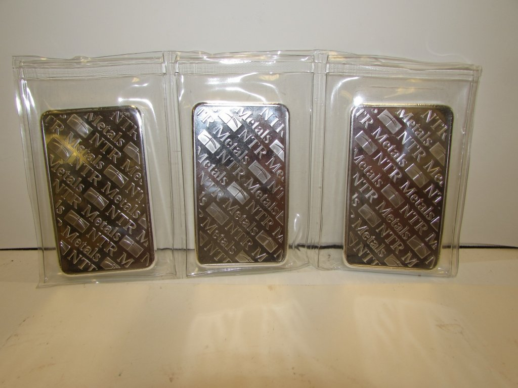 FINE SILVER .999 10 OZ TROY BARS NTR METALS 3 - 3