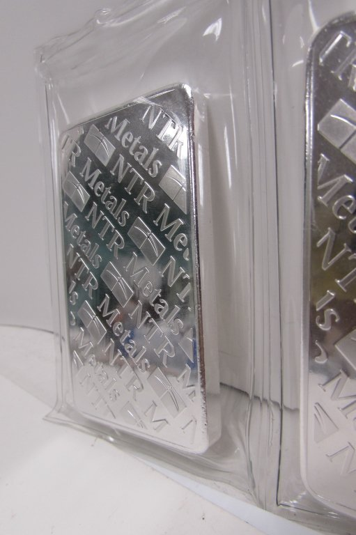 FINE SILVER .999 10 OZ TROY BARS NTR METALS 3 - 4