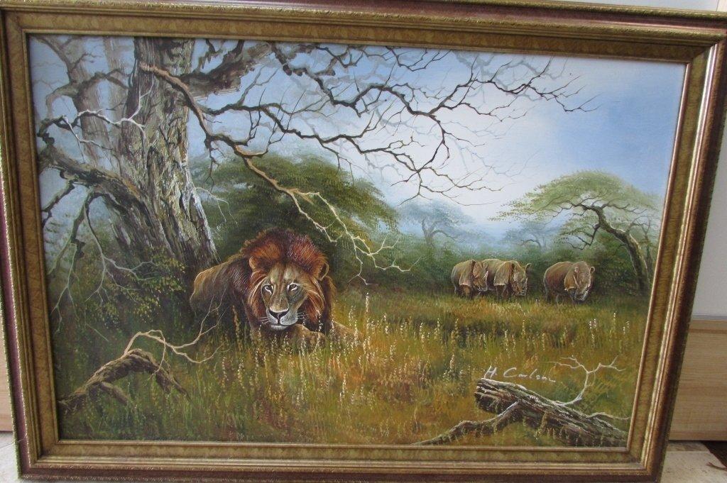 H. Carlton Listed Artist Painting Lion & Rhino