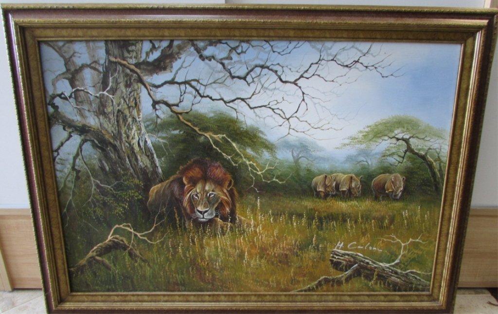 H. Carlton Listed Artist Painting Lion & Rhino - 2