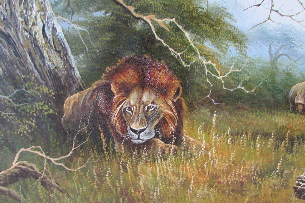 H. Carlton Listed Artist Painting Lion & Rhino - 3