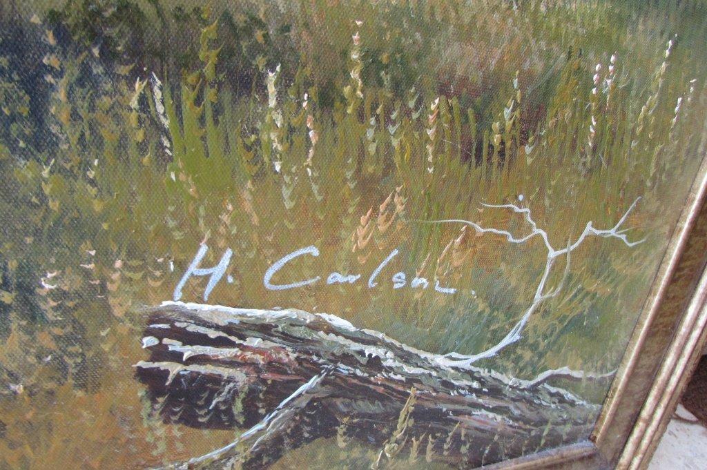 H. Carlton Listed Artist Painting Lion & Rhino - 4