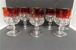 THUMBPRINT STEMWARE GLASS SET KING'S CROWN PATTERN